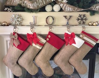 Choose Three(3) Christmas Stockings - Burlap Stockings with Red Accent Cuffs