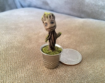 Baby Groot Figure Thimble Statue