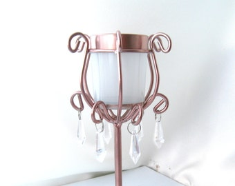 2 Tall candle holders rose gold and white 2 votive holder rose gold votive holder metal candle holders wedding decor home rose gold candle
