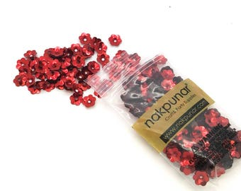 100 pcs Rose Red Floral Sew on Flatback Rhinestones