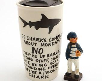 Funny Father's Day gift- mature swear words - F'n shark - ceramic travel mug - Gift for Entrepreneur Dad - DL