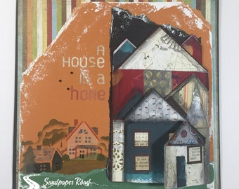 "Accordion House 12"" x 12"" scrapbook page (pre-made) - Accordion Scrapbook Layout"