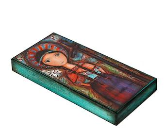 Saint Kateri -  Giclee print mounted on Wood (5 x 10 inches) Folk Art  by FLOR LARIOS