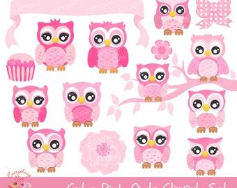 Cute Pink Owls Clipart Set