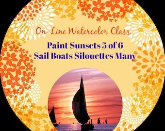 Online-Aquarell-Klasse-wie Paket und Kritik der Sonnenuntergänge (5 von 6) Segelboote Silhouetten - Aquarelle-Anleitung-Malunterricht