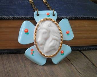 Unicorn Cameo Bib Necklace  - Blue Enamel Flower & White Unicorn Cosmic Garden Statement Pendant - Floral Unicorn Fantasy Boho Jewelry Gift