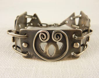Antique Arts & Crafts Sterling Handmade Link Bracelet
