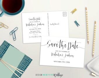 "Simple Black & White Save the Date Postcard // 4x6"" // The Natasha Collection // PRINTABLE"