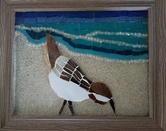 Stained Glass Mosaic Sandpiper on the beach