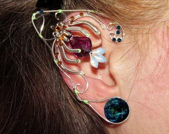 Pandora ear jewelry, Avatar inspired ear jewelry, Na'vi cosplay, bejeweled ears for Neytiri costume, fantasy jewelry, elf ears, fairy ears