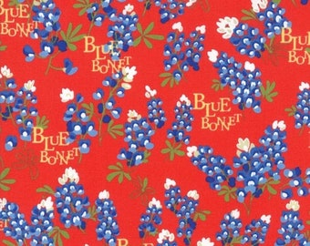 20 % off thru 5/31 BLUEBONNET PATCH Texas Wildflowers on red Moda fabric  by the yard quiltweight cotton  bluebonnets WORDS 33311-16