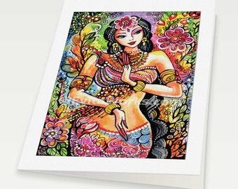 Kuan Yin Praying Indian woman spiritual painting altar goddess art Indian decor, Indian woman card, woman card, 6x8