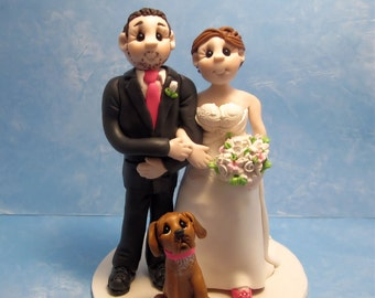 Custom wedding cake topper, personalized cake topper, Bride and groom with dog cake topper, Mr and Mrs cake topper