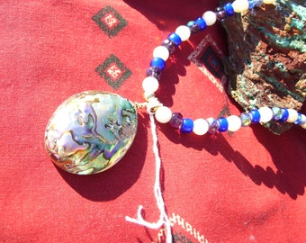 Abalone shell pendant necklace with trade beads, Native American made