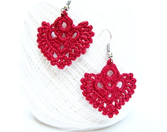 PDF patterns, easy  instructions, DIY crochet earrings, earrings pattern, crochet wedding earrings, red crochet earrings, crochetaddict