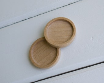 Brooch Blank - Pendant Tray - Wooden Bezels Cups - Handcrafted by ArtBASE - Maple - 30 mm - (Z303-Mp) - Set of 2