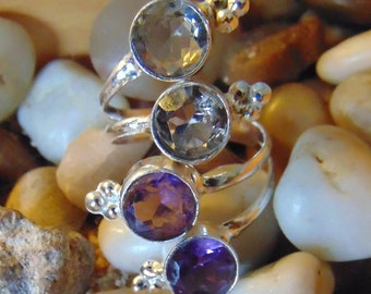 Smoky Topaz and Amethyst Wrap ring set in sterling ...size 8.5
