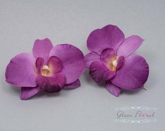 Purple Dendrobiums Orchid Hair Clip. Bridal Flower Hair Combs, Fascinators