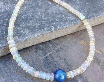 Ethiopian Welo Opal Bracelet / Opal / Flashy opal  / Kyanite