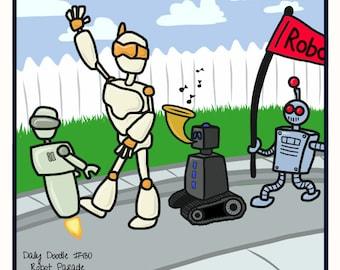 No.130 Robot Parade / Original Artwork / Daily Doodle / Art Print / Robot Cartoon / Cute Robots / Boys Room Drawings / Girls Room Artwork