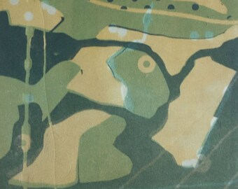"""Square, multiple color, monoprint, abstract, """"Flyover"""", green, gold, rice paper"""