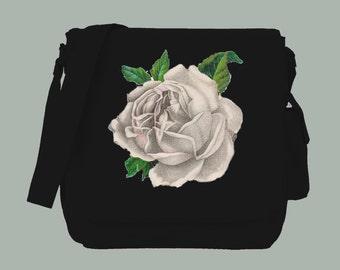 Vintage White Rose Illustration BLACK Canvas Messenger Bag, 15x11x4