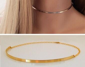 Choker Necklace • Gold Bar Choker • Statement Choker •  Thin Collar Choker • Gold, Silver, Rose Gold • Gift for Her [812]