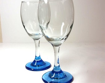 SALE...Aqua Footed Wine Glasses