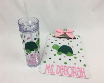 Gift set: Personalized with name clear acrylic clipboard and drinkware, any design, Sorority, kids, coaches, teachers