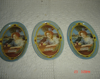 Vintage 1973 Lot of 3 Small Oval COCA COLA Lady Tin Tip Tray's 1904 Advertising. Change Tray