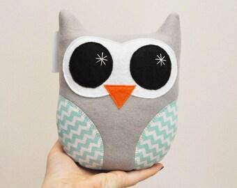 Light Gray Plush Owl With Chevron Stripes - READY TO SHIP