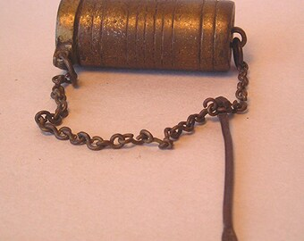 An Antique Brass Betel Nut Lime Box with Dipper Z27