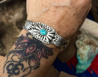 Sterling Silver and Turquoise Concho and Star Cuff Bracelet - Turquoise Jewelry - Chatfields Jewelry - Southwestern Jewelry  - Horse Jewelry