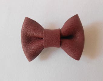 Mini bow 2 x 3 cm bordeaux leather hand-made in France