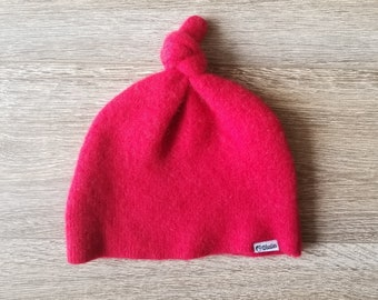 Best Cashmere Beanie // Available in Kid and Baby sizes // Red // Upcycled Cashmere sweater // Kid Beanie // Knotted Beanie