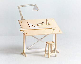 Miniature Drafting Table Model Kit  with Real Wood Tabletop, Lasercut, Architectural DIY Scale Model