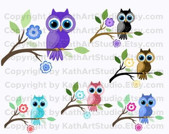 Instant Download - Owls on a Branch Clip Art Set - Personal and Commercial Use 107