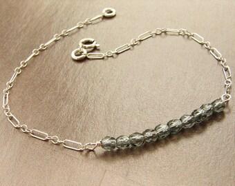 smoky diamond beaded bracelet, beadwork sterling silver custom color bridesmaid jewelry wedding party bracelet