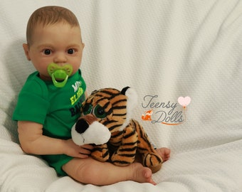 Reborn doll, Reborn baby, Lifelike doll, Painted hair, Jake kit by Donna Rubert, baby doll for sale by Teensy Dolls.