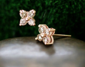 7.5x7.5MM Champagne Diamond Cluster Stud Earrings | Prong Setting | Solid 14K Gold | Floral Earrings | Fine Jewelry | Free Shipping