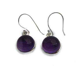 Amethyst and 925 Silver Earrings