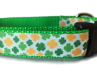 St Patricks Dog Collar, Gold and Green Shamrocks, 1 inch wide, adjustable, quick release, metal buckle, chain, martingale, hybrid, nylon