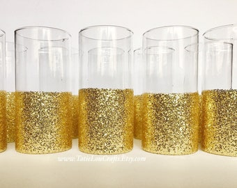 10 Gold Dipped Vases,Wedding Centerpiece,Glitter Dipped Vases,Baby Shower Centerpiece,Bridal Shower Centerpieces, Sweet 16 Centerpiece