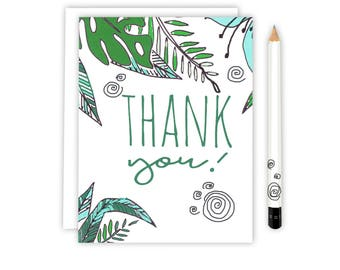 Thank You Card - Floral Hawaiian - Thank you - Illustrated Thank you Greeting Card