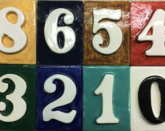 Number tiles - weatherproof - with without holes 4 1/2 '' x 3 1/4 '' Glazed with your choice of color.