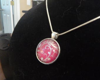 Silver Floral Cabochon Necklace