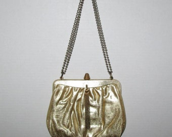 Vintage 1960s Gold Lame Purse Handbag Shoulder Bag With Gold Tassel Accent