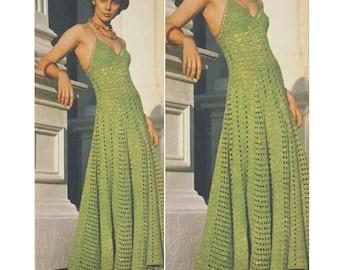 CROCHET DRESS Pattern Vintage 70s Crochet TOP Pattern-Crochet Maxi Dress and Top Pattern-Crochet Dress instant download