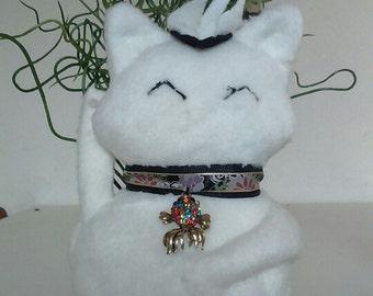 Maneki Neko White Cat  handsewn