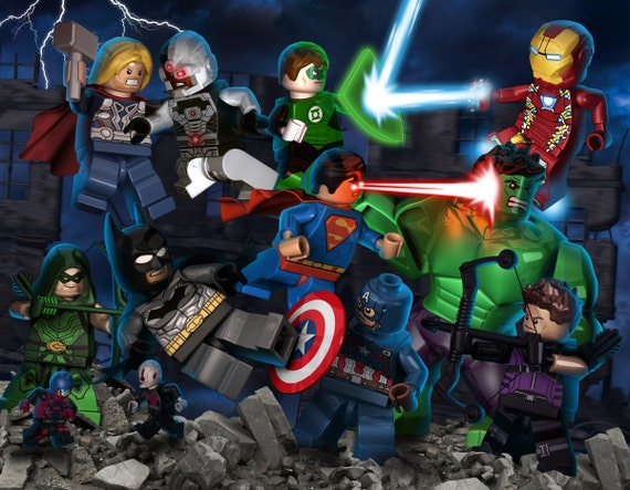 lego avengers vs lego justice league poster - Avengers Vs Justice League